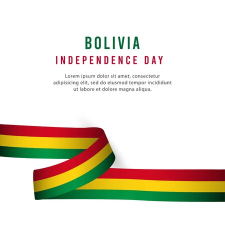 Happy Bolivia Independence Day Celebration Poster Vector Template Design Illustration