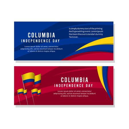 Happy Columbia Independence Day Celebration Poster Vector Template Design Illustration Illusztráció