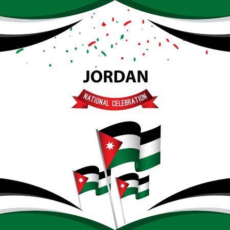 Jordan National Celebration Poster Vector Template Design Illustration