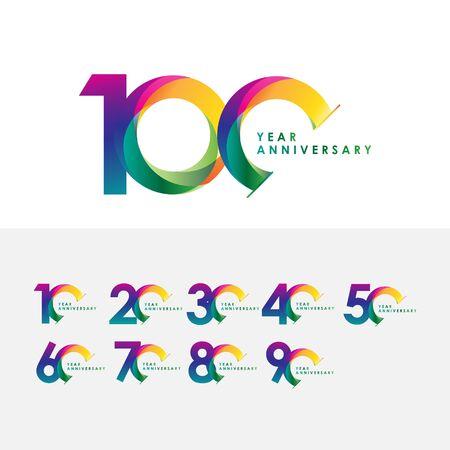 100 Year Anniversary Set Vector Template Design Illustration Vektoros illusztráció