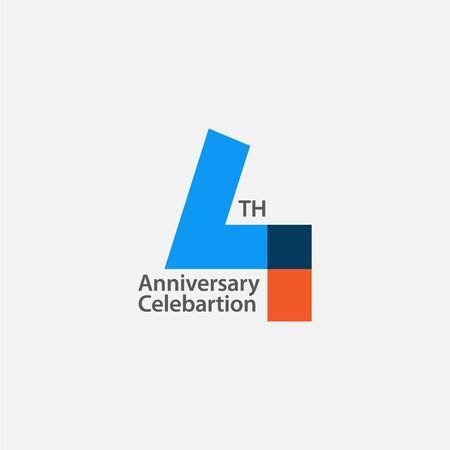 4th Anniversary Celebration Vector Template Design Illustration