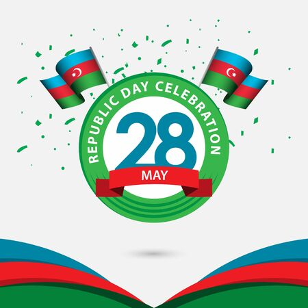 28 Year Azerbaijan Republic Day Celebration Vector Template Design Illustration Banque d'images - 137060924