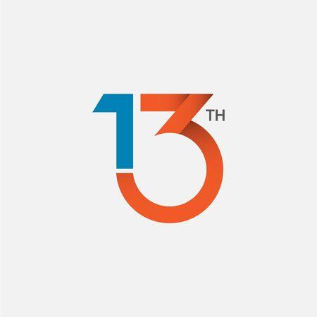 13 th Anniversary Vector Template Design Illustration 向量圖像