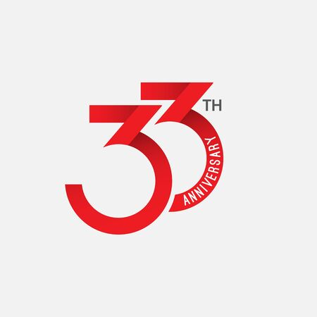 33 th Anniversary Vector Template Design Illustration