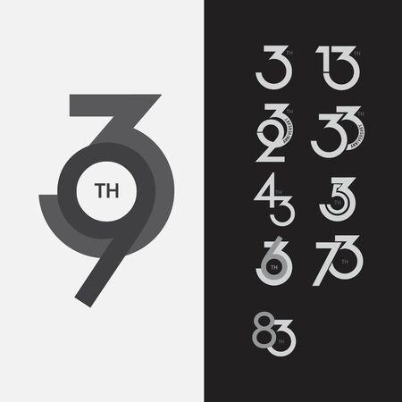 93 th Anniversary Set Vector Template Design Illustration 向量圖像