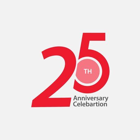 25 th Anniversary Celebration Vector Template Design Illustration Vektoros illusztráció