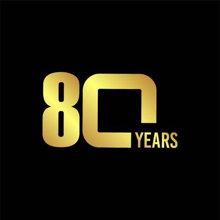 80 Year Anniversary Vector Template Design Illustration Ilustración de vector