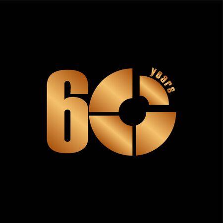 60-jarig jubileum vector sjabloonontwerp illustratie