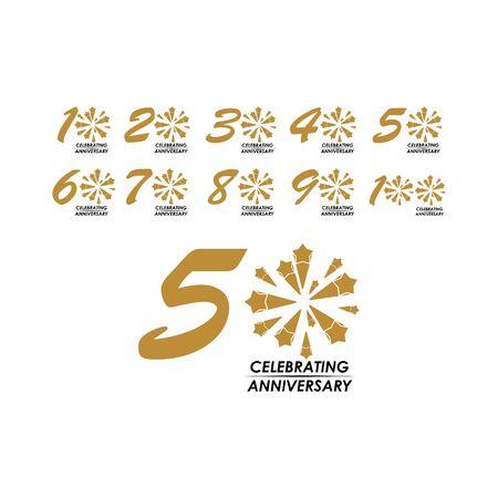 50 Year Celebrating Anniversary Set Vector Template Design Illustration