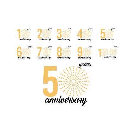 50 Year Anniversary Set Firework Vector Template Design Illustration