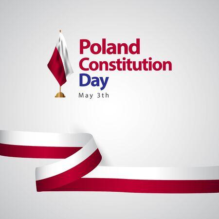 Polska flaga dzień konstytucji wektor szablon projektu ilustracja Ilustracje wektorowe