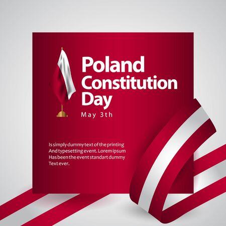 Polska flaga dzień konstytucji wektor szablon projektu ilustracja