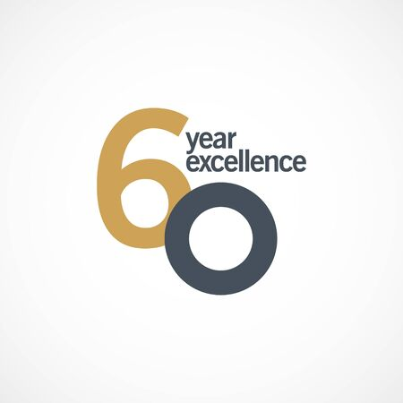 60 Year Anniversary Excellence Vector Template Design Illustration