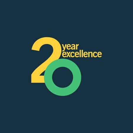 20 Year of Excellence Vector Template Design Illustration Illusztráció