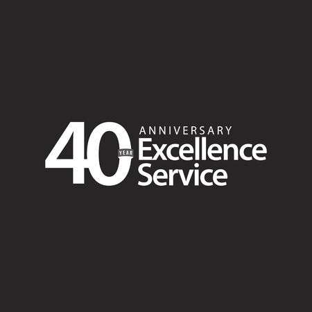 40 Year Anniversary Excellence Service Vector Template Design Illustration Illustration