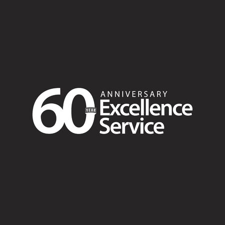60 Year Anniversary Excellence Service Vector Template Design Illustration