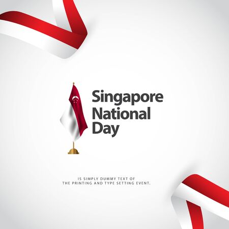 Singapore National Day Vector Template Design Illustration