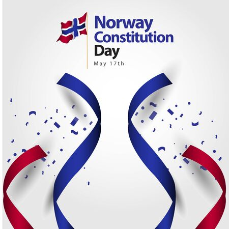 Norway Constitution Day Flag Vector Template Design Illustration Ilustrace