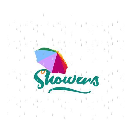 April Showers May Flowers Vector Template Design Illustration Vecteurs