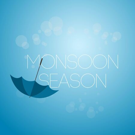 Monsoon Season April Showers Vector Template Design Illustration Icon Çizim