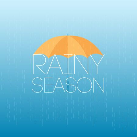 Rainy Season April Showers May Flowers Vector Template Design Illustration Çizim