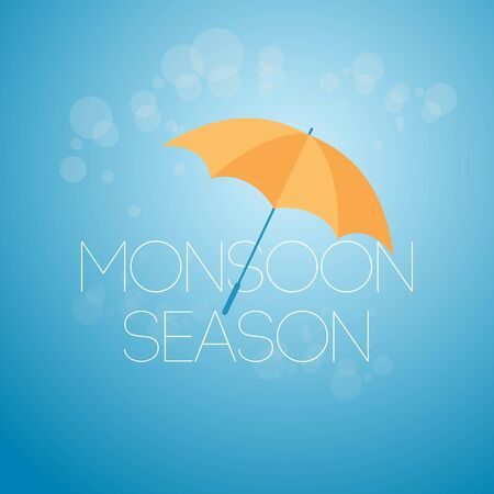 Monsoon Season April Showers May Flowers Vector Template Design Illustration Çizim
