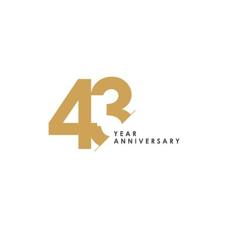 43 Year Anniversary Vector Template Design Illustration