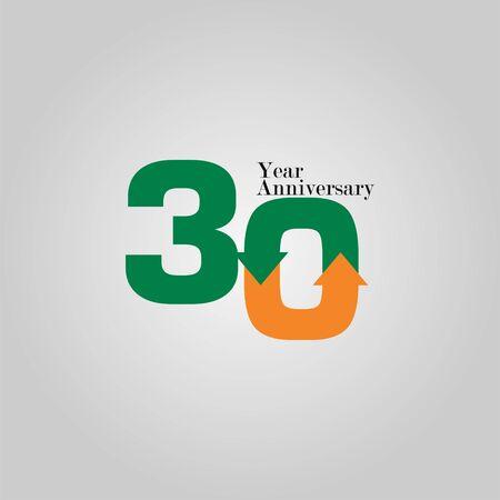 30 Year Anniversary Vector Template Design Illustration Vektoros illusztráció
