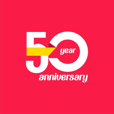 50 Year Anniversary Vector Template Design Illustration Vektoros illusztráció