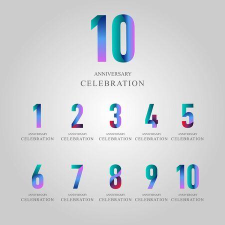 Year Anniversary Celebration Set Vector Template Design Illustration