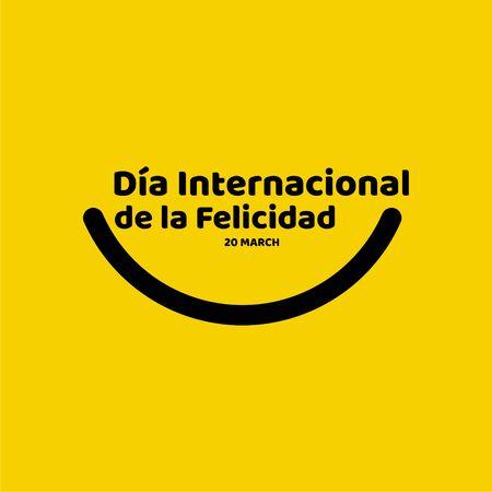 Dia Internacional de la Felicidad Vector Template Design Illustration