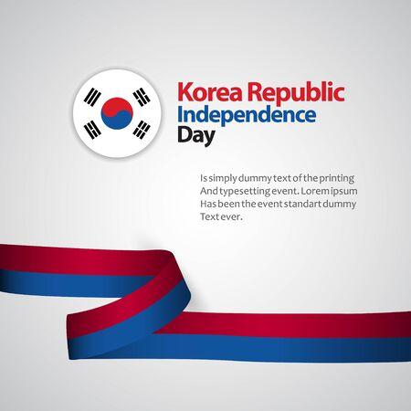 Illustrazione di progettazione del modello di vettore di festa dell'indipendenza della Repubblica di Corea Vettoriali