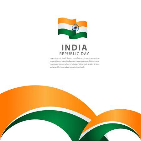 Ilustración de diseño de plantillas vectoriales de celebración del día de la independencia de India feliz