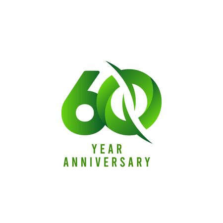 60 Years Anniversary green Celebration Vector Template Design Illustration
