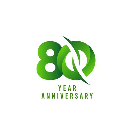80 Years Anniversary green Celebration Vector Template Design Illustration