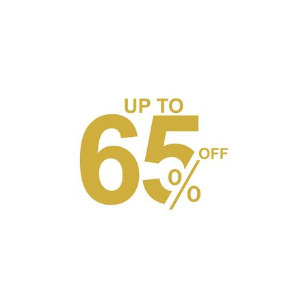 Discount Label up to 65% off Vector Template Design Illustration Stock Illustratie