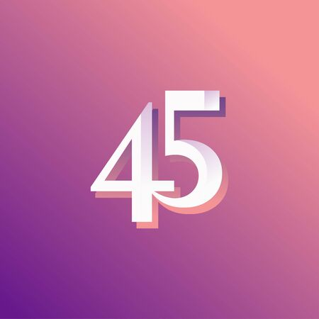 45 Years Anniversary Rainbow Number Vector Template Design Illustration