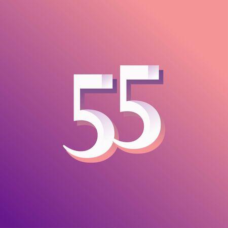 55 Years Anniversary Rainbow Number Vector Template Design Illustration Stock Illustratie