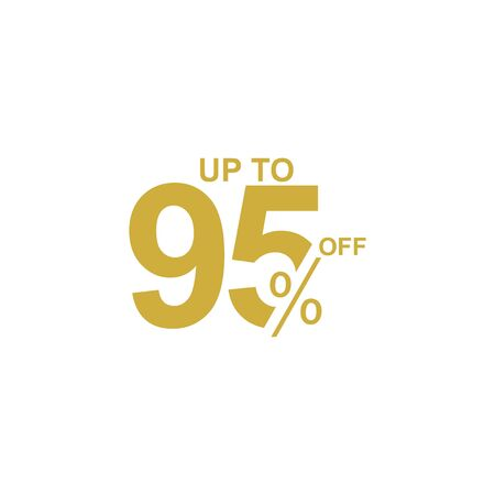 Discount Label up to 95% off Vector Template Design Illustration