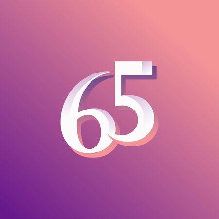 65 Years Anniversary Rainbow Number Vector Template Design Illustration Stock Illustratie