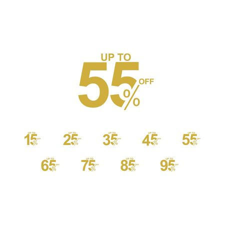 Discount Label up to 55% off Vector Template Design Illustration