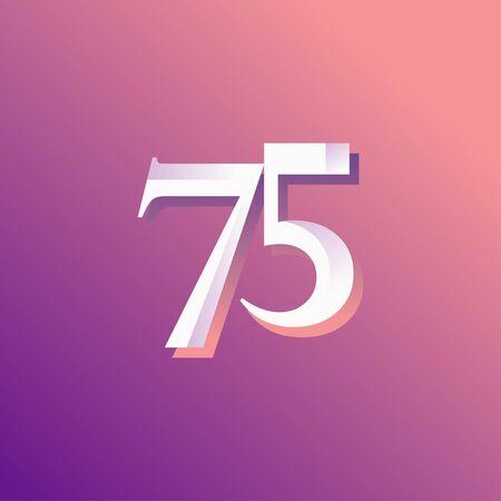 75 Years Anniversary Rainbow Number Vector Template Design Illustration