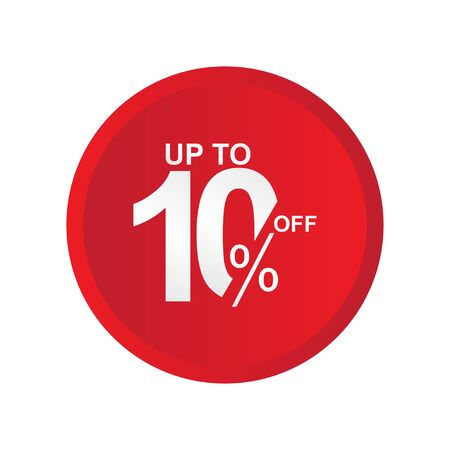 Discount Label up to 10% off Vector Template Design Illustration