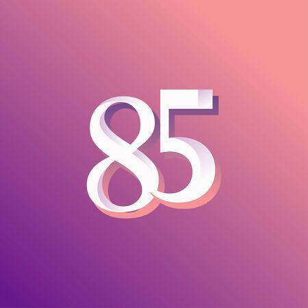 85 Years Anniversary Rainbow Number Vector Template Design Illustration Stock Illustratie
