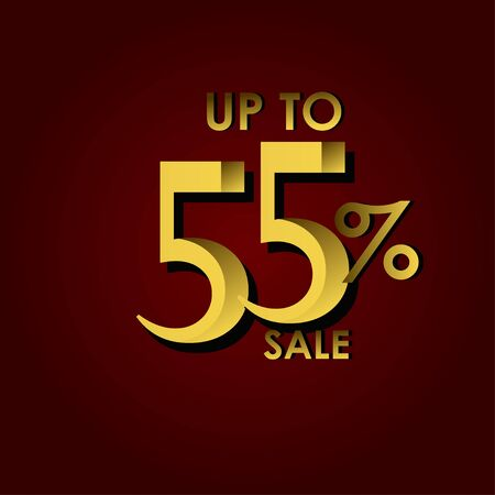 Discount Sale Label up to 55% Red Gold Vector Template Design Illustration