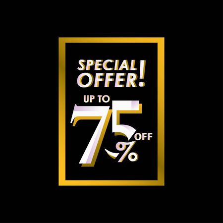 Discount Special Offer up to 75% off Label Vector Template Design Illustration