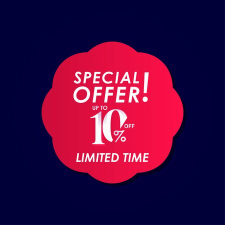 Discount Special Offer up to 10% off Limited Time Label Vector Template Design Illustration