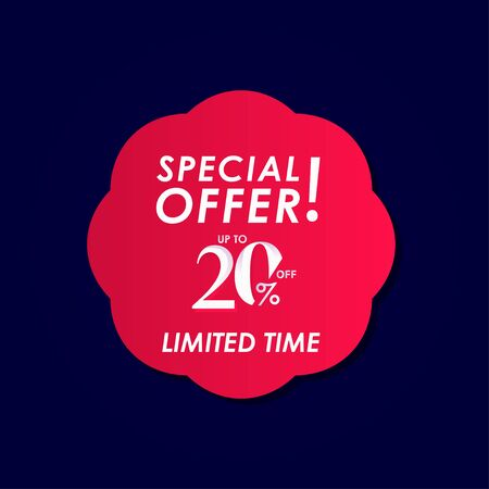 Discount Special Offer up to 20% off Limited Time Label Vector Template Design Illustration