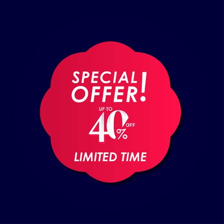 Discount Special Offer up to 40% off Limited Time Label Vector Template Design Illustration Stock Illustratie