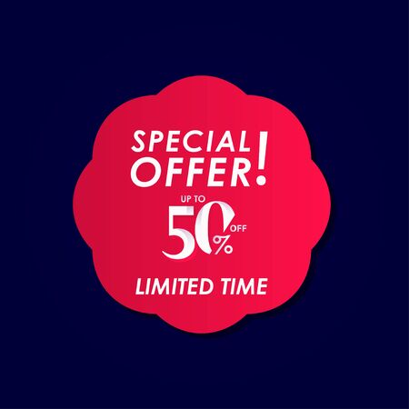 Discount Special Offer up to 50% off Limited Time Label Vector Template Design Illustration